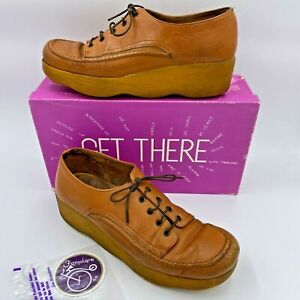 Vintage 1970s Famolare Get There Shoes size 8N Wavy Sole w/ Box Sticker Italy B1