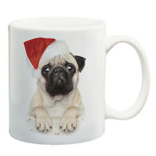 Christmas Pug dog santa hat ceramic coffee mug tea cup