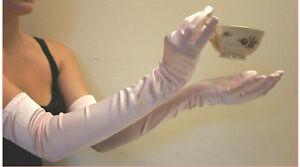 "Satin Gloves Pink Opera 22"" Long Stretch Evening Bkfast Glam Leg Avenue 16B"