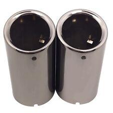 2x 70mm Car Steel Exhaust Tips Muffler Tail Throat Pipe Trim For VW Golf 7 Jetta