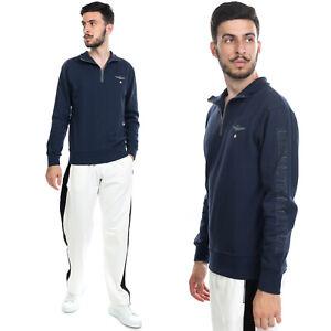 RRP €105 AERONAUTICA MILITARE Sweatshirt Size M Coated Logo Half Zip Polo Neck
