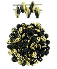 10g Jet Brass 1/2 SuperDuo 2 Hole Czech Glass Seed Beads 2x5mm