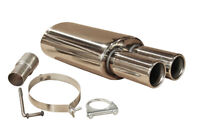TWIN TIP STAINLESS STEEL SPORTS PERFORMANCE UNIVERSAL EXHAUST BACK BOX 012+50