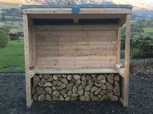 Timber Log Store / Smoke Shelter with Felted Roof
