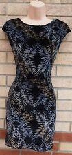 TOPSHOP BLACK VELVET SILVER GOLD GLITTER LEAVES BODYCON PARTY XMAS TUBE DRESS 8