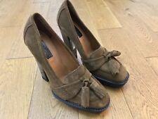 Burberry en boîte marron en daim à gland Plateforme Talons Hauts Escarpins Chaussures Taille 40 UK 7