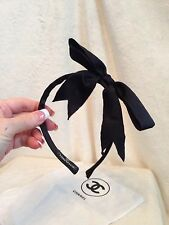 CHANEL CAMBON BLACK SATIN RIBBON BOW HEADBAND