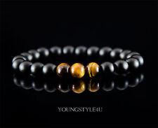 Herren Damen Armband Armkette Onyx Tigerauge Halbedelstein Perlen Rund Schwarz