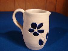 WILLIAMSBURG VA Pottery Salt Glazed Cobalt Blue DAISY Flower Mini Pitcher Cream