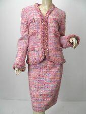 LUXUS Escada STRICK TWEED BOUCLE knit Rock skirt multicolor 44/46 pink NP980 38