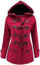 14-24 Ladies New Fuchsia Fleece Duffle Style Hooded Coat Long Jacket Womens