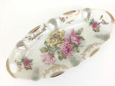 Antique porcelain celery dish BAVARIAN 1900's - white with flowers