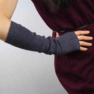 Cashmere Wool Arm Warmer Fingerless Gloves Half Finger Gray Elbow Long Grey soft