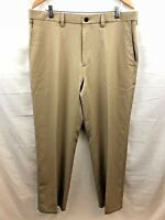 Haggar Golf Pants Mens 32 x 32 Brown Flat Front Stretch Classic Fit Brand New