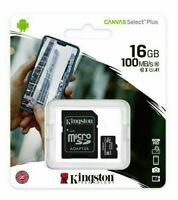 KINGSTON 16GB Micro SD SDHC MEMORY CARD CLASS 10 TF With SD CARD ADAPTER 100MB/s
