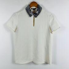 Maje Womens Top Size 1 (AU 10) Off White Sequin Collar Short Sleeve Paris Design