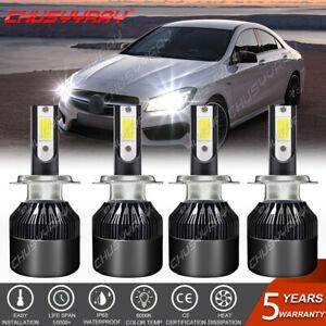 For Mercedes-Benz E350 E320 E550- H7+H7 LED Headlight Bulbs High Low Beam 4PCS