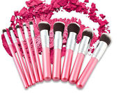 Professional 10pc Pink MakeUp Soft Face Contour Powder Eye Blending Brushes Set