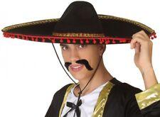 Chapeau Mexicain SOMBRERO Noir Rouge Déguisement Homme Western NEUF Pas cher