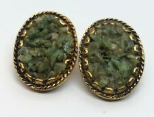 Vintage Earrings Jade Crushed Clip On Gold Tone Green