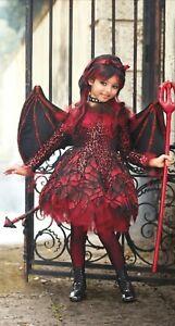 Chasing Fireflies Wishcraft Punk Devil Costume Sz 10 Dress Wings Headband Triden