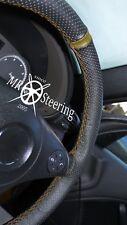 Para BMW 3 Series E46 98-05 Cubierta del Volante Cuero Perforado + Correa Marrón