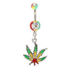 Navel Belly Ring Bar Dt Jamaican Pot Leaf Dangle Crystal