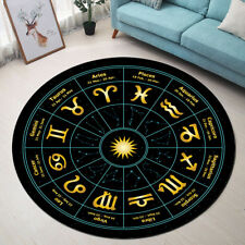 Soft Round Floor Mat Circle with Signs of Zodiac Astrology Living Room Area Rugs