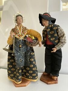 French Provencal Santons figures fishmonger couple with scale and fish. Vintage