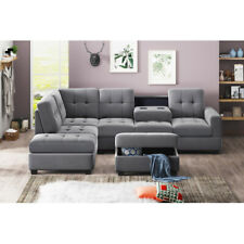 Sectional 3-Seat Sofa Furniture Set Suede L Shape Sleeper Couch Storage Ottoman