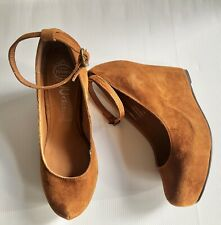 JEFFREY CAMPBELL Adelaide Tan Suede Ankle Strap High Platform Wedge Shoes - 8