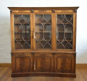 Antique style concave library breakfront bookcase cupboard / display cabinet