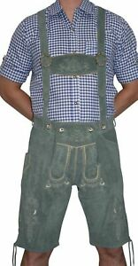 German Men LEATHER LEDERHOSEN Oktoberfest Shorts Pants Bavarian GRAY / 2 Pc SET