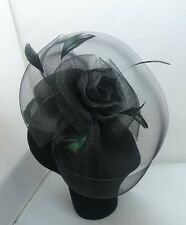 EXQUISITE HANDMADE BLACK TOP HAT SINAMAY FASCINATOR WITH  FLOWERS & FEATHERS