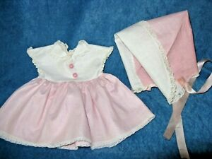 """1950's vintage Tiny Tears Doll Dress & Bonnet, American Character for 15"""" doll"""
