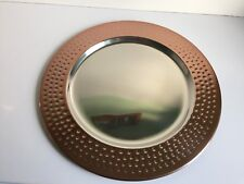 * NEW MODERN DECORATIVE COPPER SILVER HAMMERED edge server plate charger plate