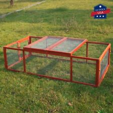 "71"" Wooden Rabbit Hutch Chicken Coop House Poultry Cage Animal Backyard Run"