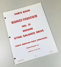 Massey Ferguson 31 Mf31 Sickle Bar Hay Mower Parts Manual Catalog Book Numbers