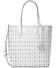 New Michael Kors Hayley MD North South Top Zip White Perforated LeatherTote Bag