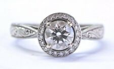 Palladium Round Cut Diamond Halo Milgrain Engagement Ring GIA .75Ct F-VS2 XXX