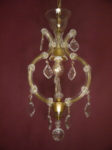 """ONE LIGHT SMALL MARIE THERESIA LAMP CHANDELIER CRYSTAL GLASS  Ø 12"""""""
