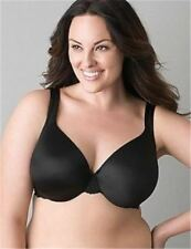 Lane Bryant Cacique SMOOTH SATIN FULL COVERAGE Bra Black Lace Trim~36D