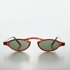 Brown Slim Edgy Vintage Rare1990s Tiny Frame Sunglasses Green Lens -  Khloe
