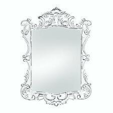 distressed white shabby vintage carved wood bathroom vanity entry wall mirror