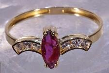 Marquise Ruby Ring Accented by Six Diamonds 14 K Gold Ring Size 9