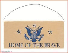 """""""Home of The Brave"""" Rustic Decorative Wood Sign Free Shipping"""
