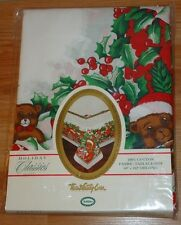 """CHRISTMAS TEDDY BEARS cloth Holiday TABLECLOTH NEW in Package 60"""" x 102"""" Oblong"""