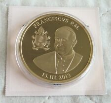 More details for pope francis 2013 40mm gold plated proof medal  - coa a