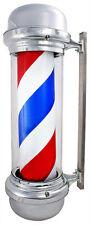 Barber Pole LED Light Red White Blue Stripes Rotating Metal Hair Salon Shop Sign