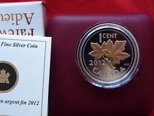 2012 canada 1 cent ARGENT FIN plaqué or rose preuve coin-farewell à la Penny